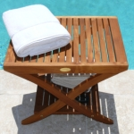 Teak Spa Stool With Shelf